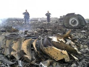 wreckage of Malaysia Airlines plane crash in Ukraine