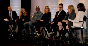 From left at Washington event promoting CBS's 'Madam Secretary': Politico's Mike Allen; executive producers Lori McCreary and Morgan Freeman; stars Téa Leoni and Tim Daly; executive producer Barbara Hall; Politico's Maggie Haberman. (Photo: Melissa Quinn/Daily Signal)