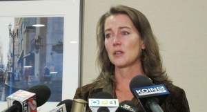 Cylvia Hayes at an Oct. 9. 2014 press conference where she admitted entering into an illegal marriage in 1997.