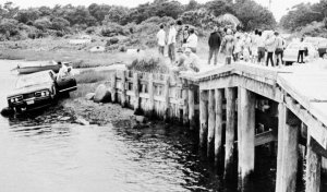 Sen. Edward M. Kennedy's car is pulled from the water on July 19, 1969 after going off a bridge in Chappaquiddick the night before. The body of Mary Kopechne of Washington, D.C., was found in the rear seat. Her death was attributed to drowning.