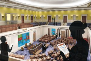Rendering showing a replica of the U.S. Senate chamber that will be the central feature of the Edward M. Kennedy Institute for the U.S. Senate