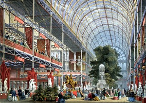 The 990,000 sq. ft. Crystal Palace opened at Britain's Great Exhibition of the Works of Industry of All Nations in London's Hyde Park in 1851.