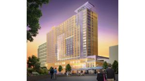 A May 2013 rendering of a proposed Hyatt hotel at the Oregon Convention Center.