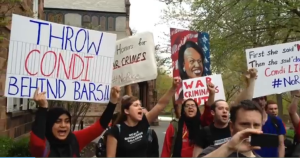 Students protest planned commencement address by former Secretary of State Condoleezza Rice at Rutgers University