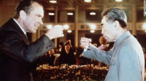 President Richard Nixon toasts with Chinese Premier Zhou Enlai in February 1972 in Beijing