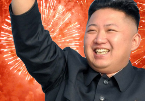 Supreme Leader Kim Jung Un celebrating the launch of the new 15-blade razor.