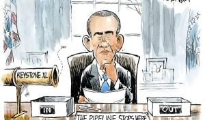 "Jeff Koterba cartoon for February 5, 2014 ""Obama Keystone Pipeline"""