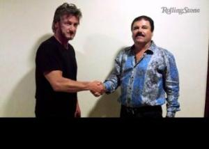 Sean Penn (L) greets El Chapo