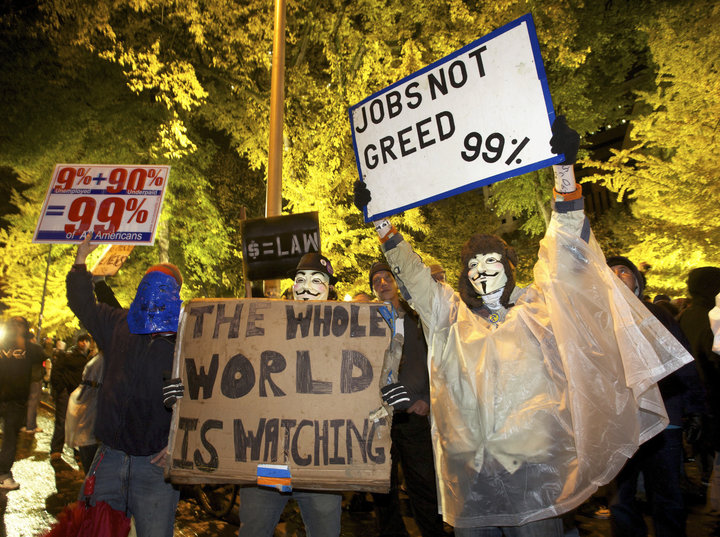 Occupy Wall Street protesters demonstrate in Portland