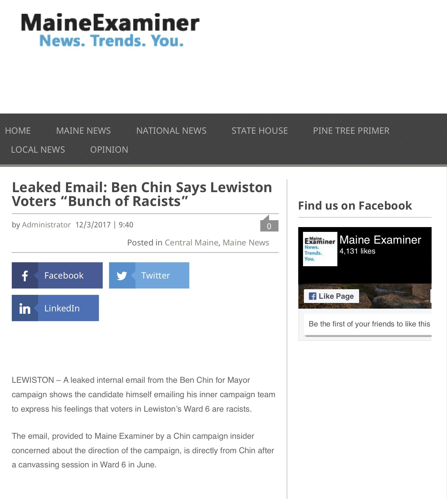 """Leaked Email: Ben Chin Says Lewiston Voters """"Bunch of Racists"""""""