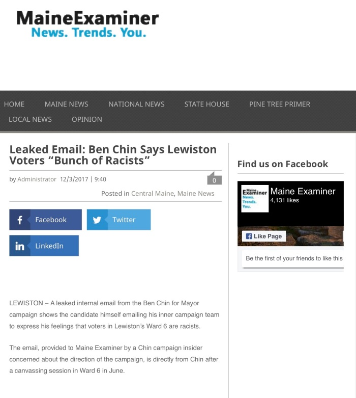 "Leaked Email: Ben Chin Says Lewiston Voters ""Bunch of Racists"""